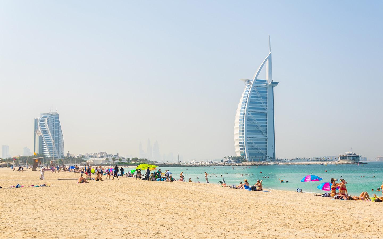 Burj Khalifa in the backdrop of Jumeirah Public Beach