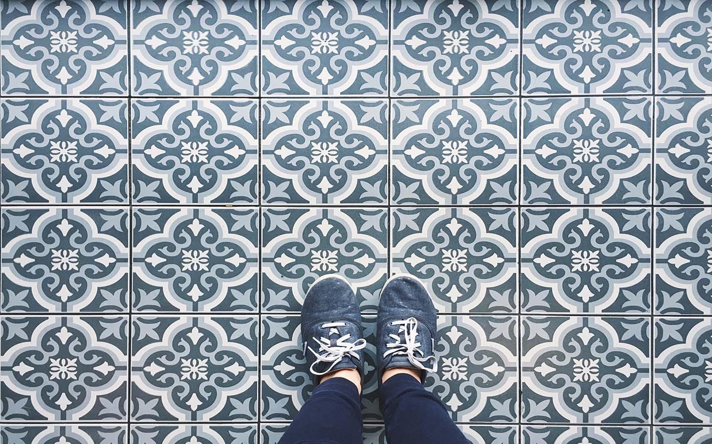 decorative blue tile floor