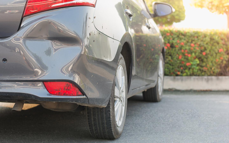 Dented bumper of a car