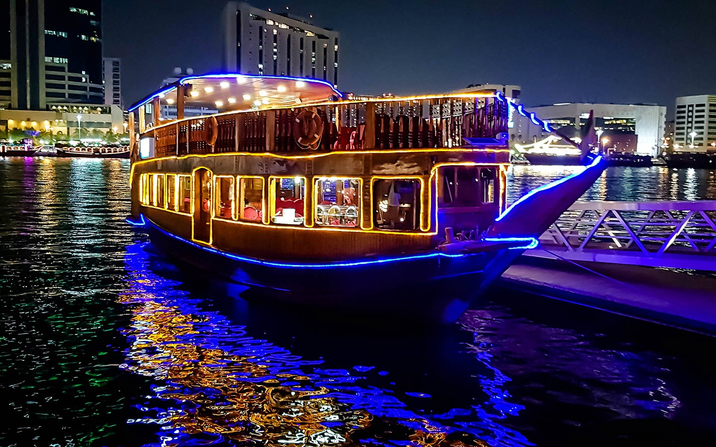 Floating dhow cruise at Dubai Marina