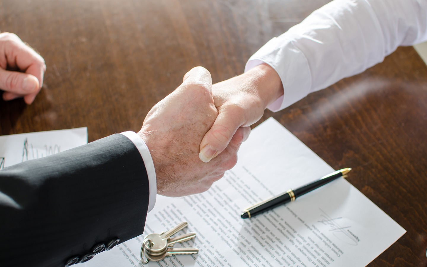 Men are shaking hand after signing a contract