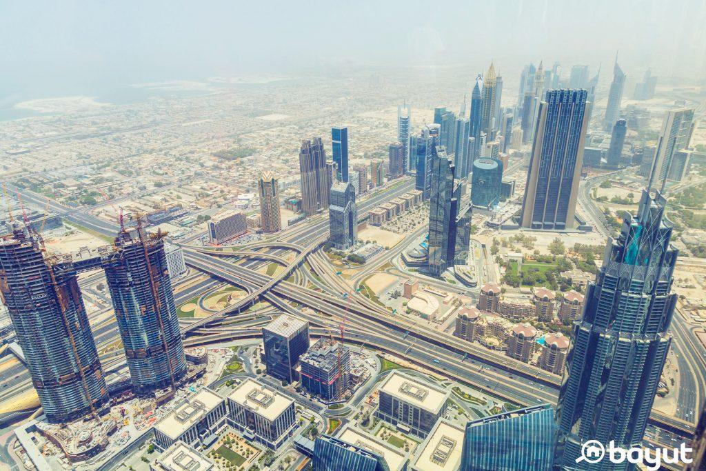 An areal shot of Downtown Dubai taken from a high floor in the Burj Khalifa