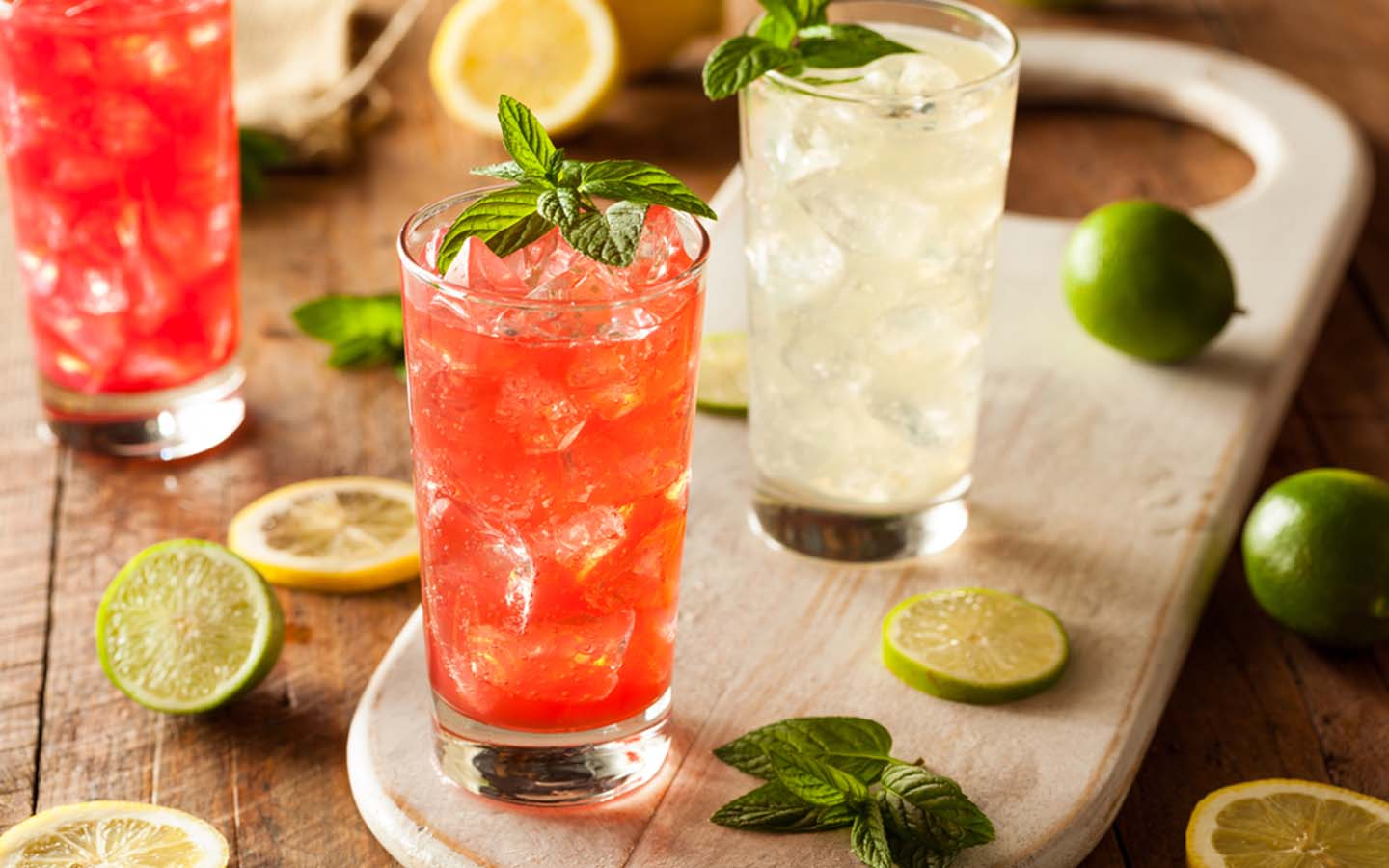 refreshing and cooling drinks with mint and lemon zest