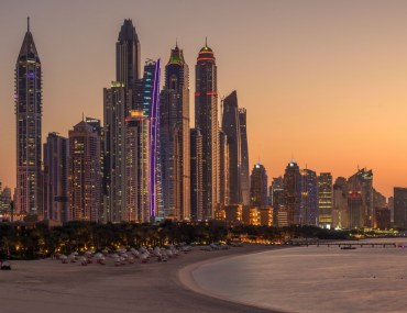 Apartment towers in Dubai Marina seen from the beach .
