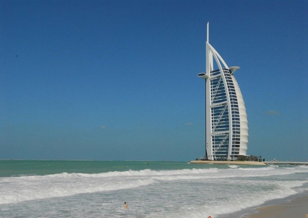 Sunset beach in Dubai for Burj Al Arab selfies.