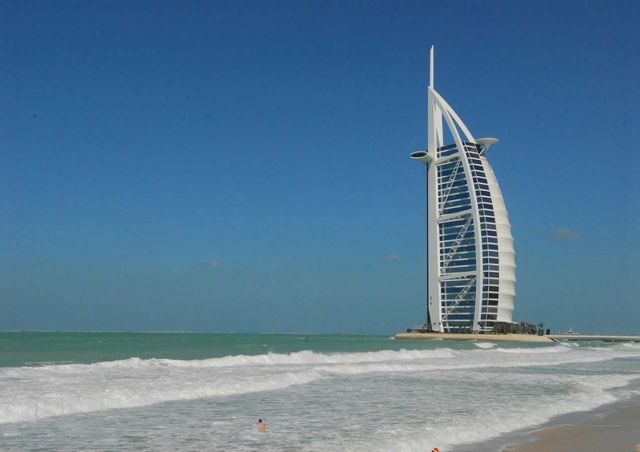 Sunset beach in Dubai for Burj Al Arab selfies.