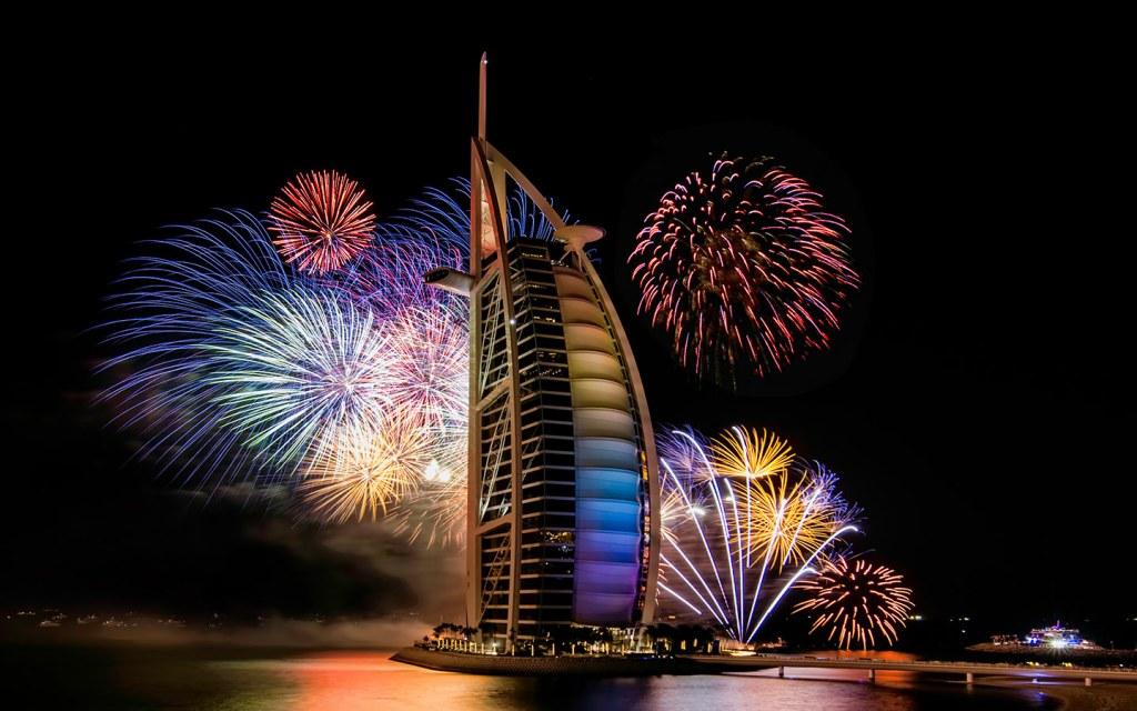 NYE Dubai fireworks at Burj Al Arab