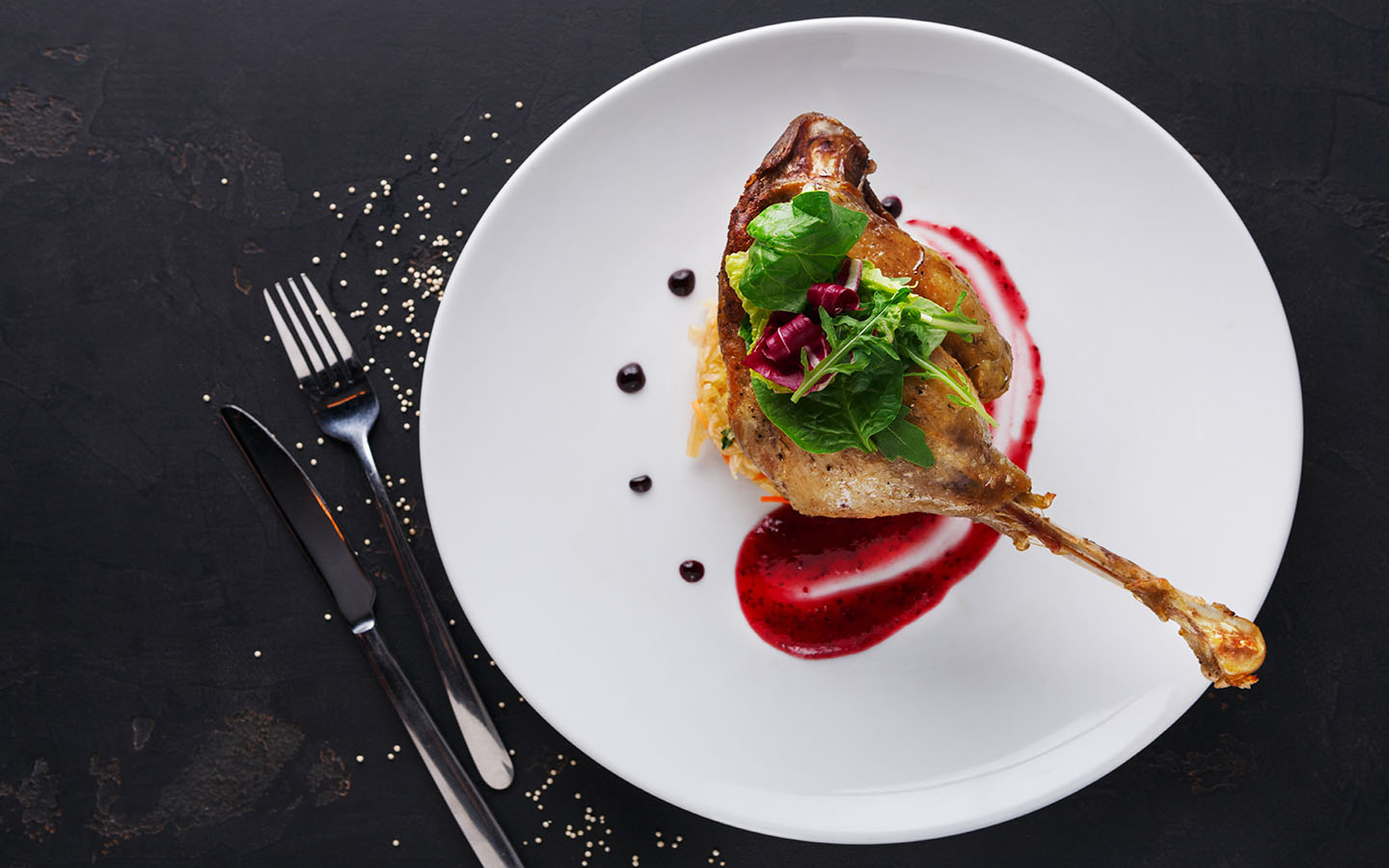 beautifully plated Duck confit
