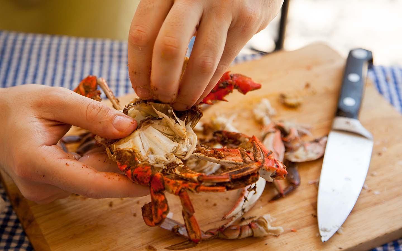 eating crab
