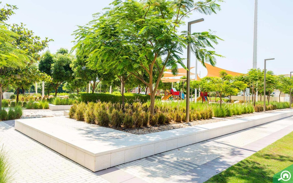 Greenery and beautiful parks in Emirates Hills.