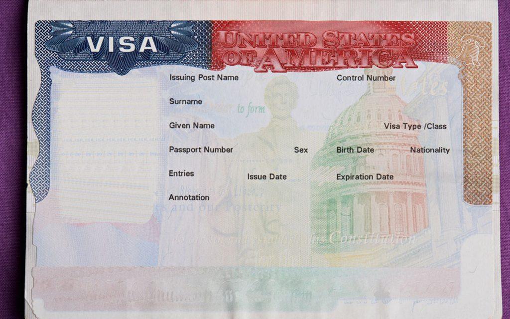 empty US Visa stamp on passport