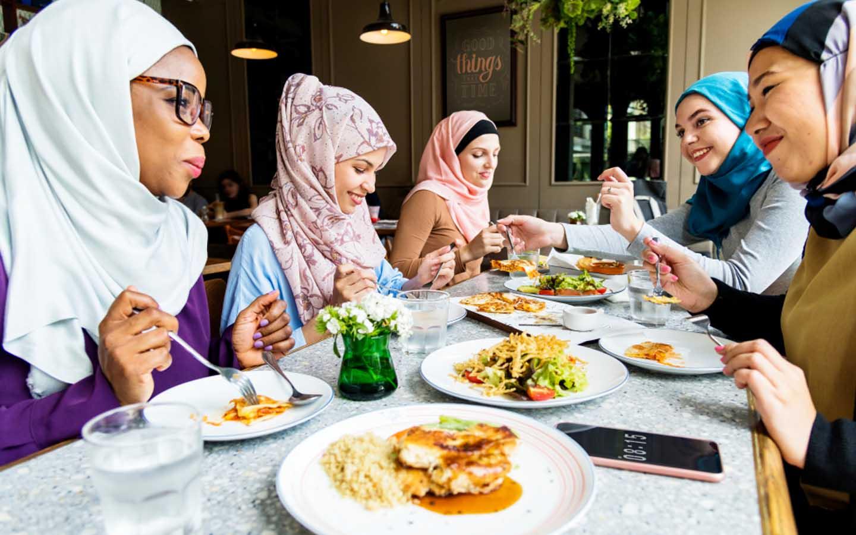 family enjoying Arabian cuisine