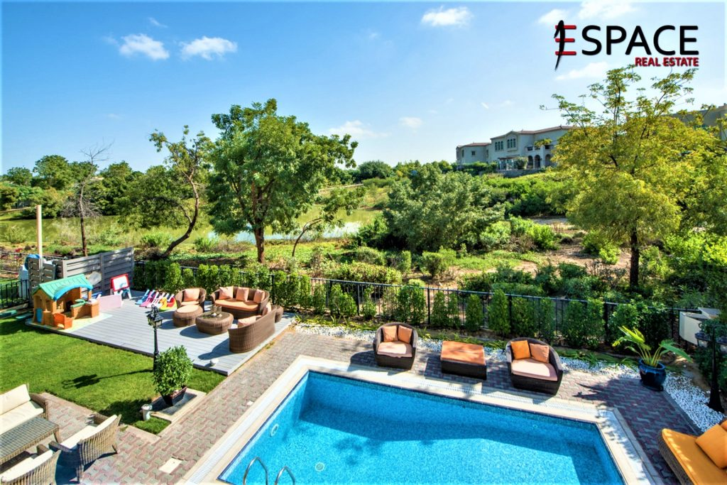 Swimming pool and patio of Spanish Garden villa for sale on Bayut.com