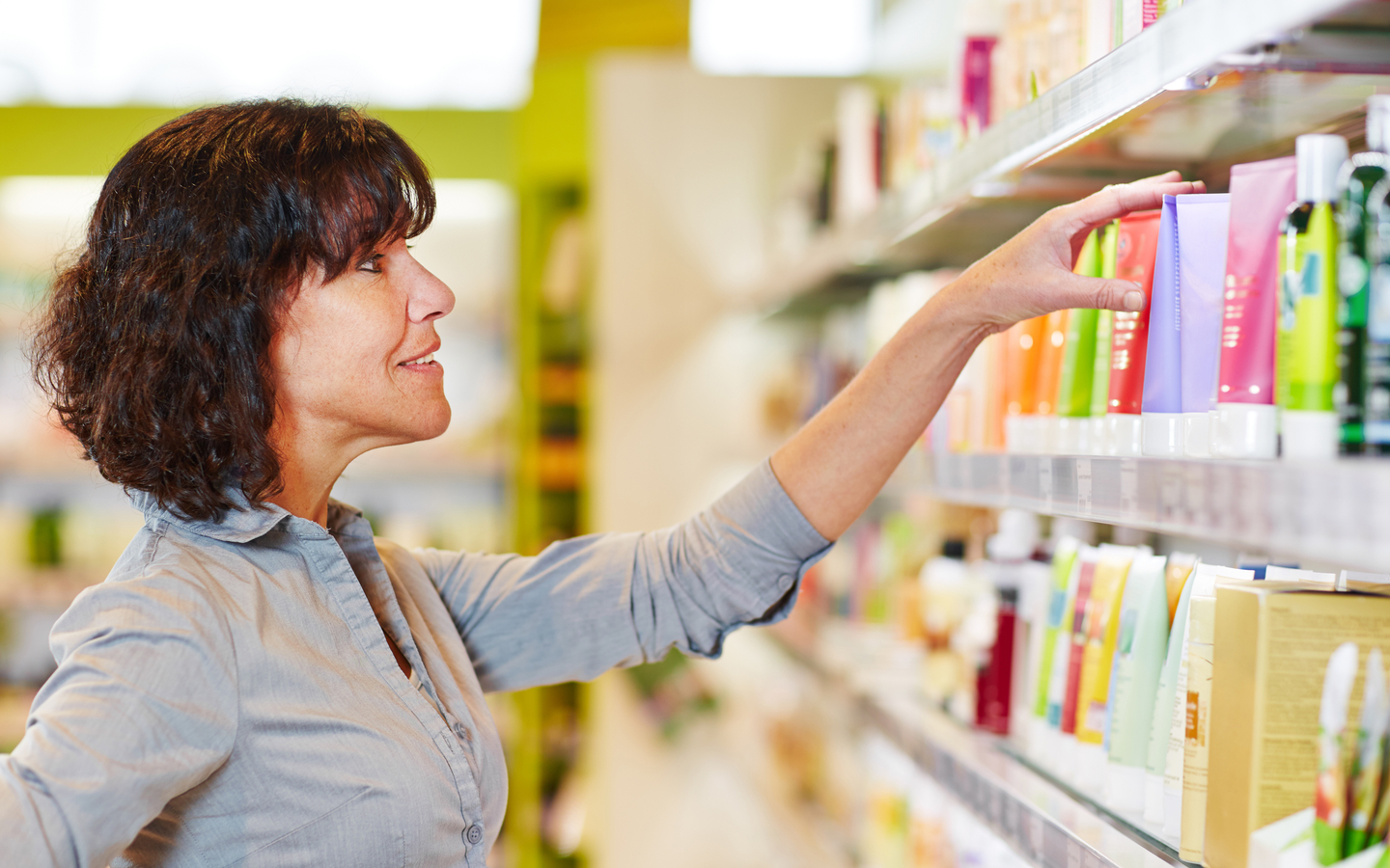 Cosmetics and skin care products in supermarket