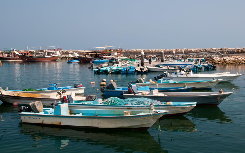 Fishing Boats decked at Marina, Abu Dhabi
