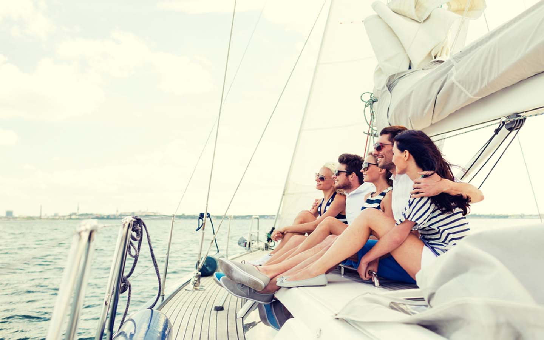 friends having fun on yacht