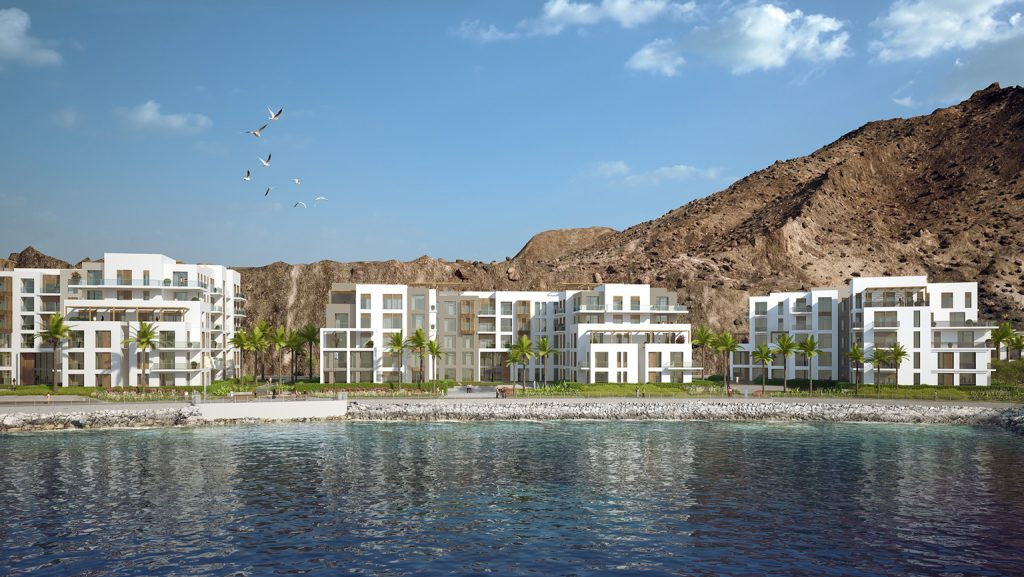 A sea side view of the up-and-coming prestigious waterfront lifestyle destination - The Address Residences Fujairah Resort & Spa on the east coast of the United Arab Emirates