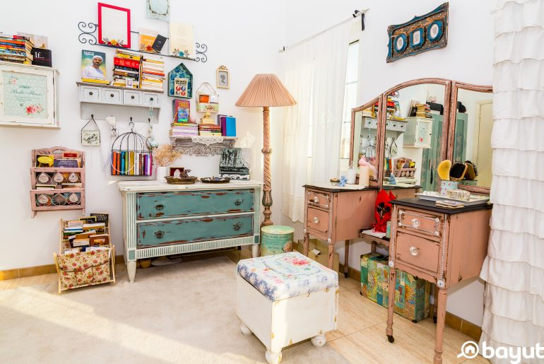 Upcycled furniture in a bedroom in Dubai