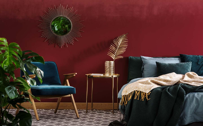 gold decor with dark walls