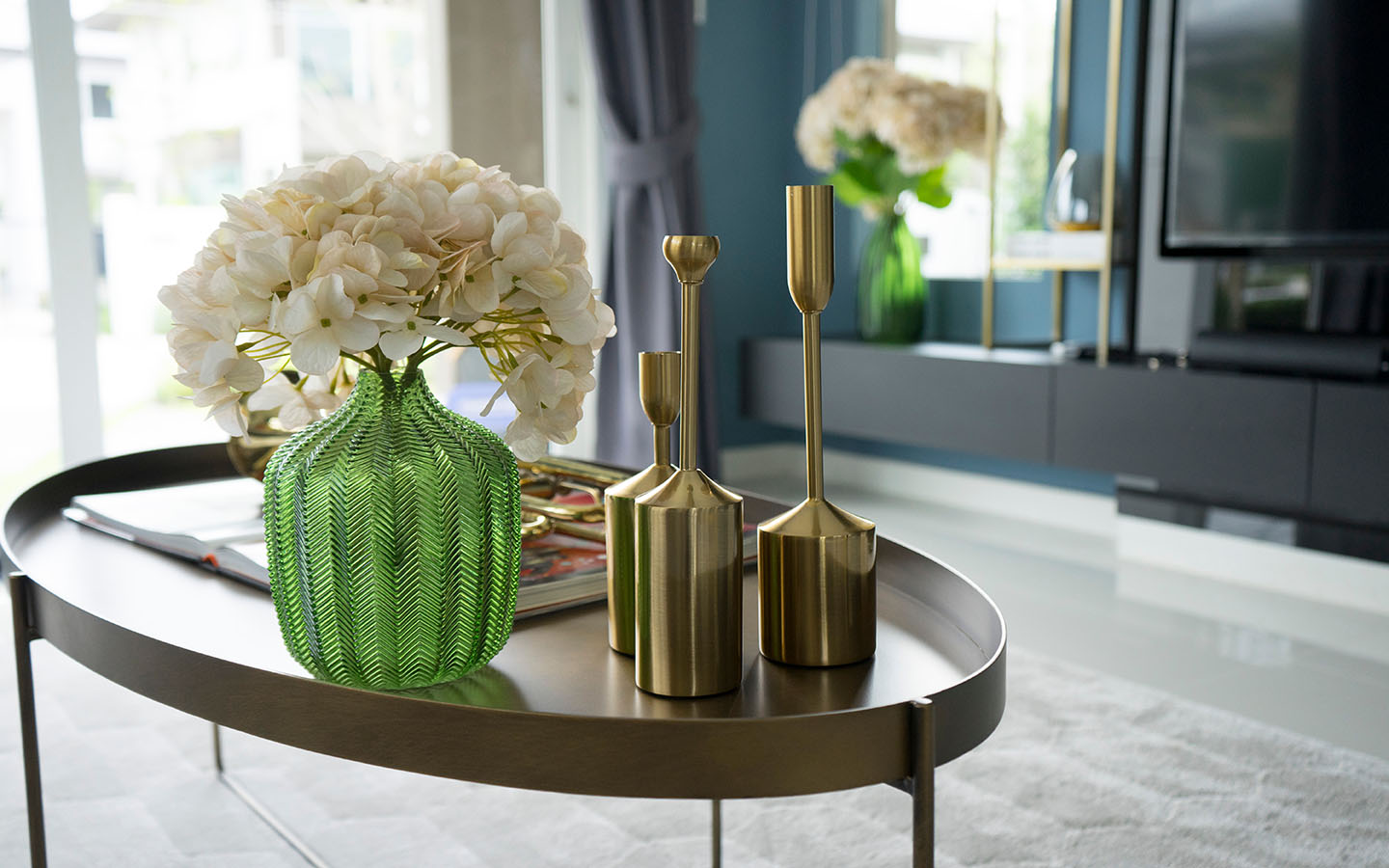 gold decor on a coffee table