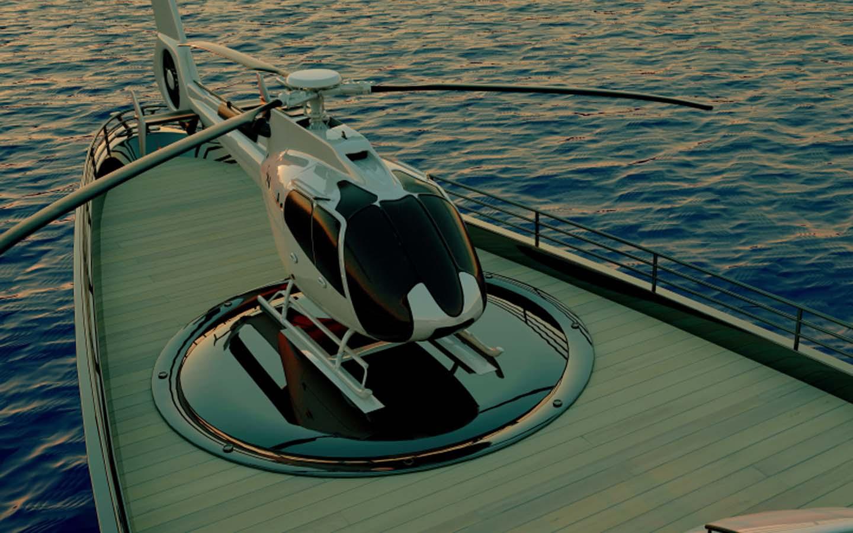 helipad on yacht