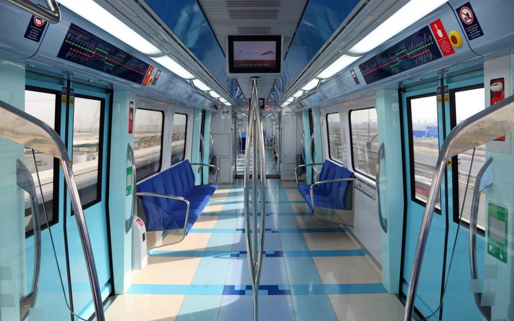 Empty Dubai metro train
