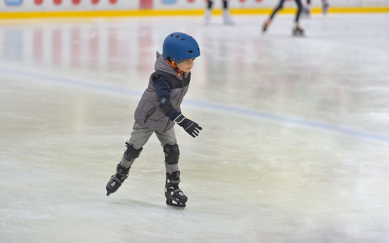 little boy ice skating