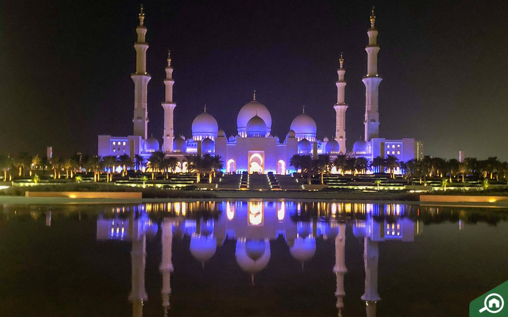 illuminated facade of Sheikh Zayed Mosque Abu Dhabi