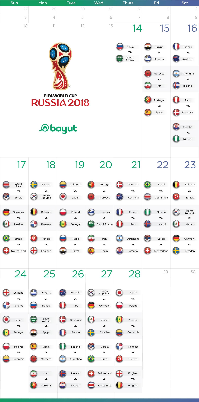 Calendar of world cup matches