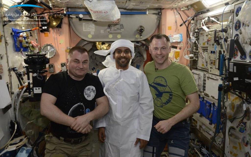 emirati kandura in space worn by hazza al mansouri