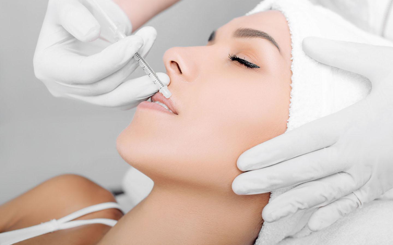 Women undergoing lip augmentation