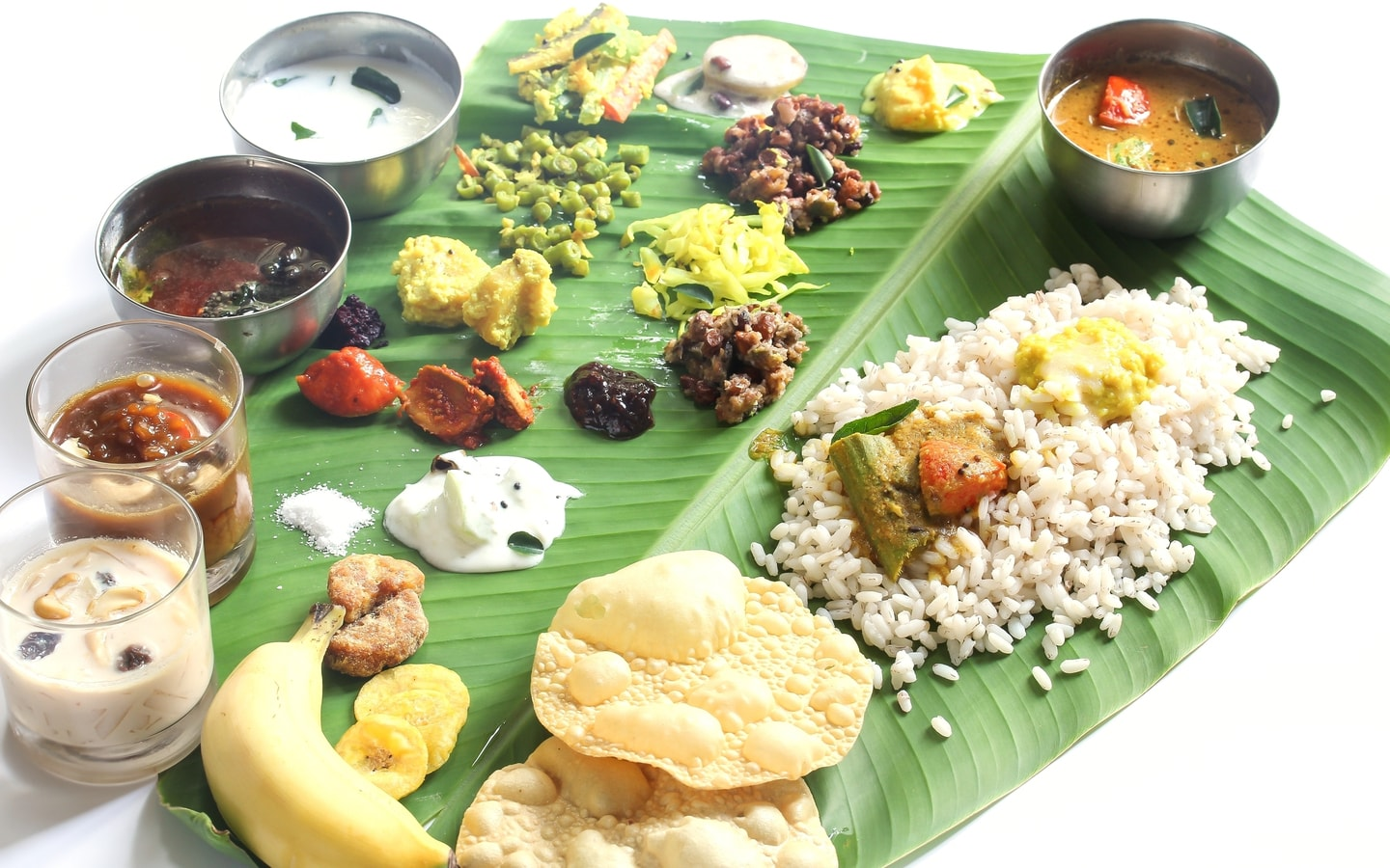Typical Kerala sadya with over 26 dishes