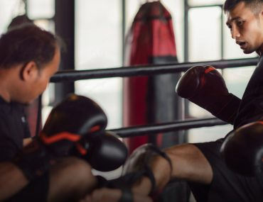 kickboxing training in session in ring