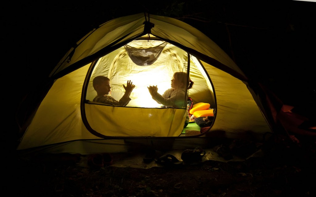 kids camping in the garden