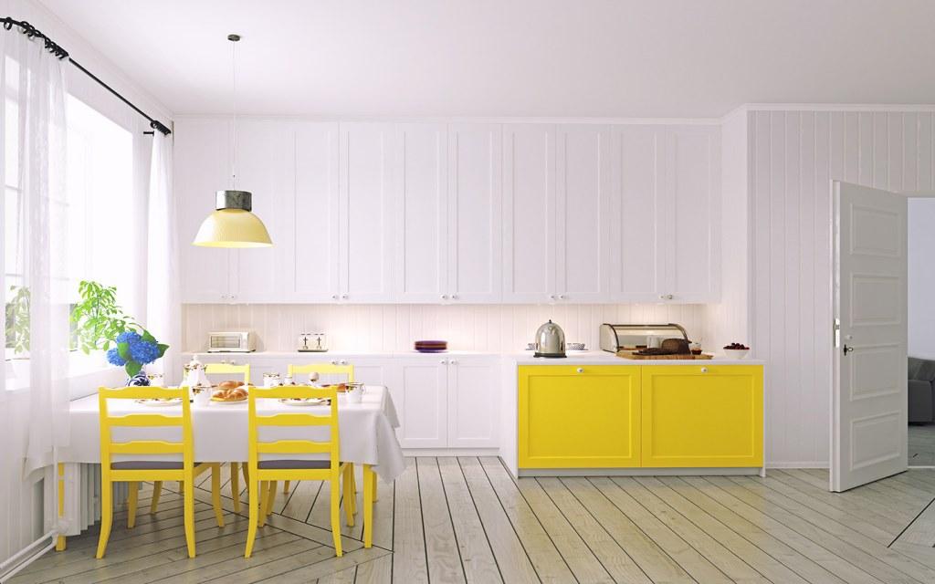 مطبخ أبيض وأصفر