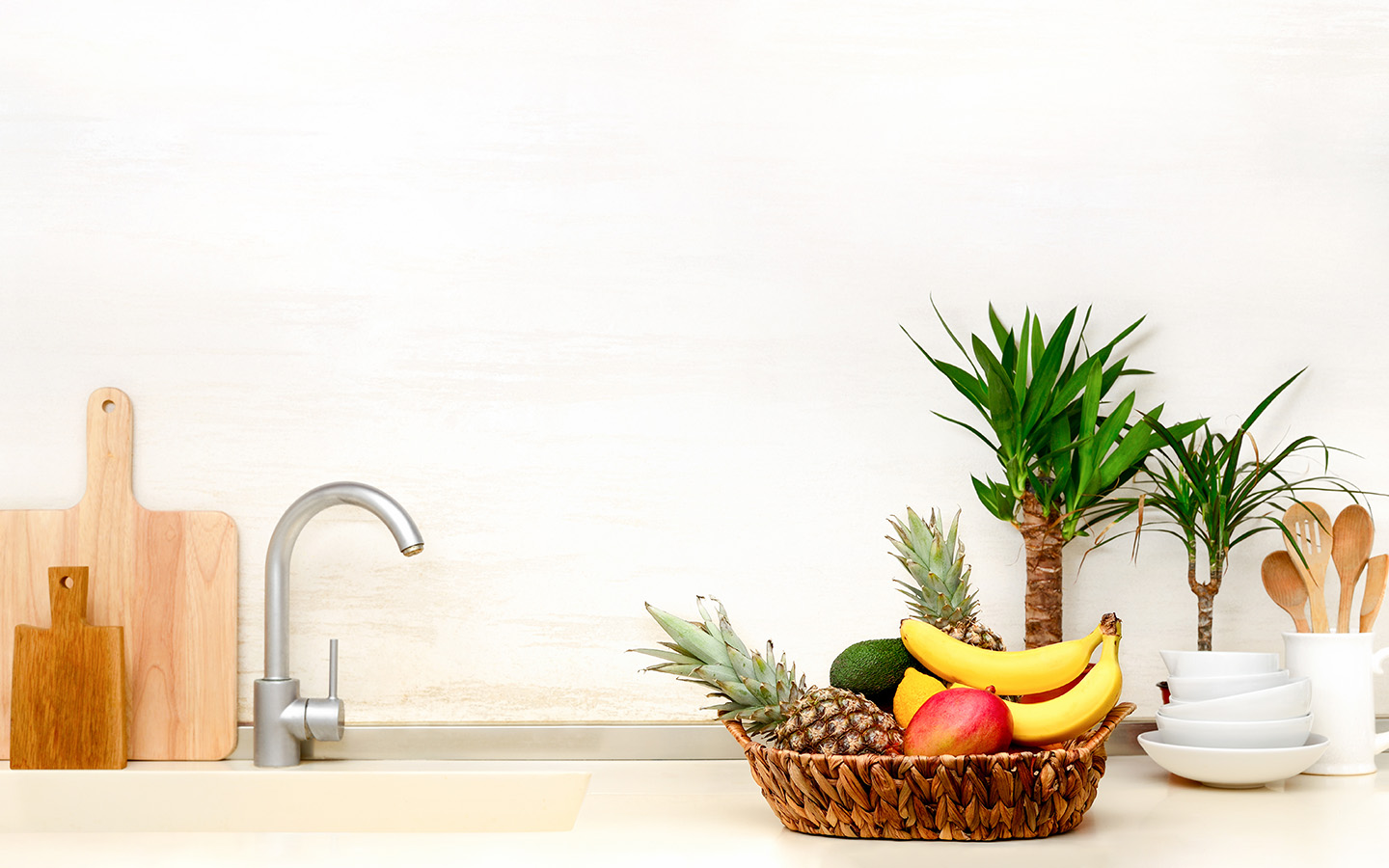 decorated kitchen counter