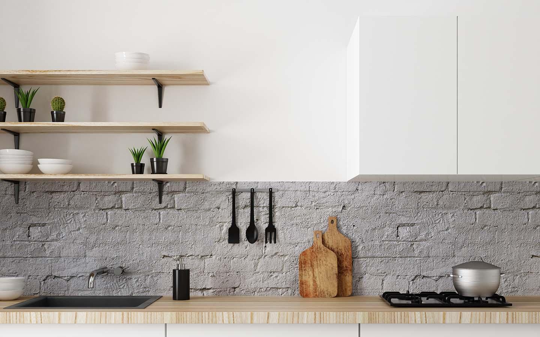 Kitchen wall with concrete backsplash