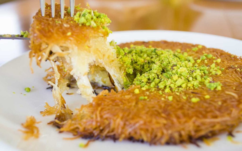 kunafa topped with pistachios