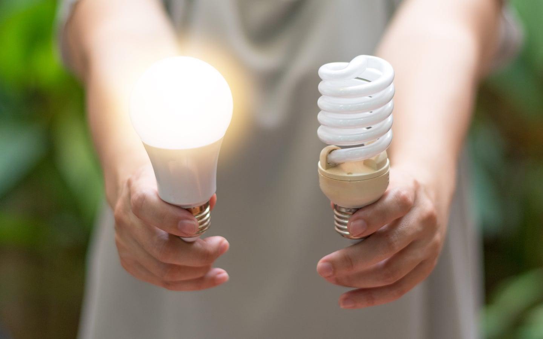 Energy savings with LED and CFL bulbs.