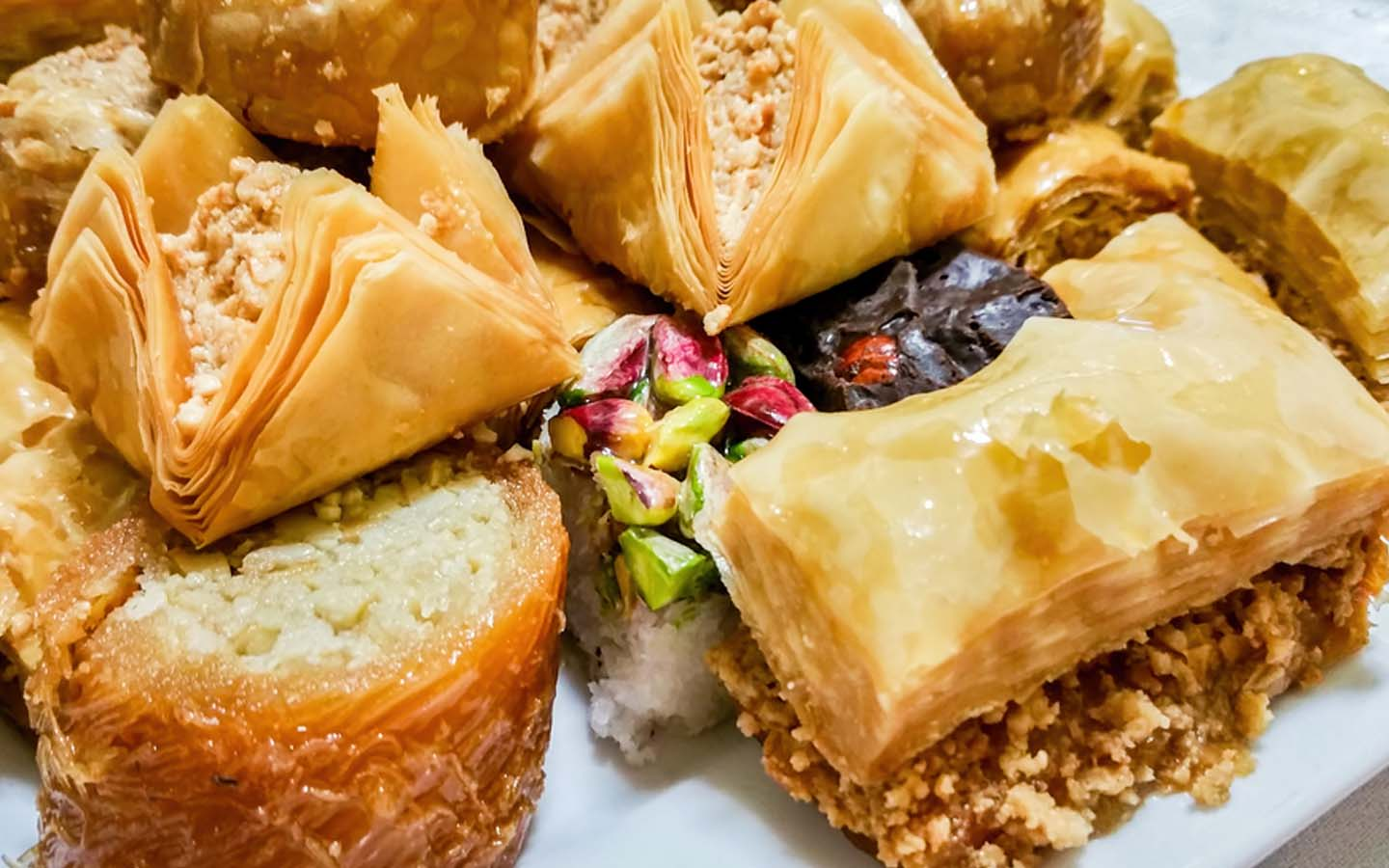 Baklava served in a plate