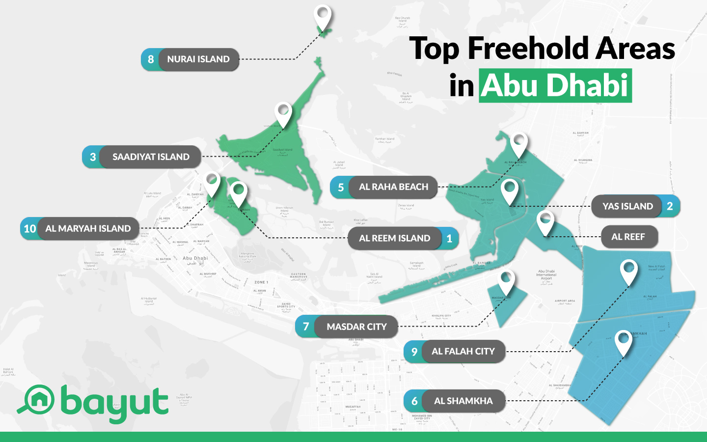 Map of Abu Dhabi with freehold areas for foreign investment