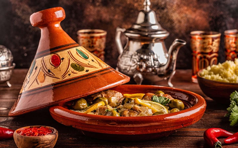Moroccan tagine served in a ceramic vessel