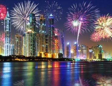 Huge fireworks above Dubai Marina's Tallest Residential Block in the World