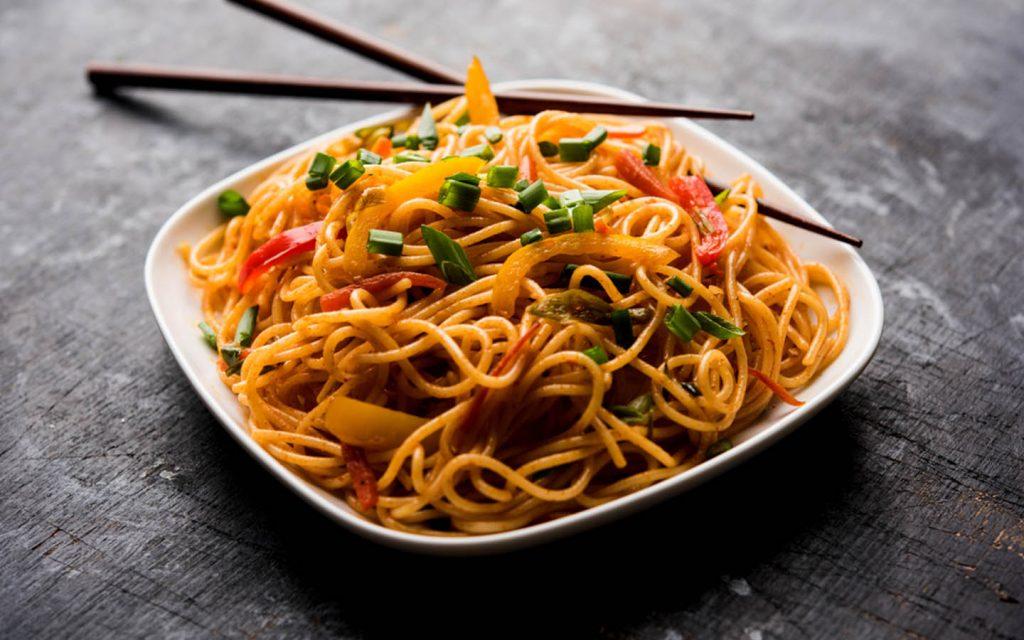 a bowl of warm noodles
