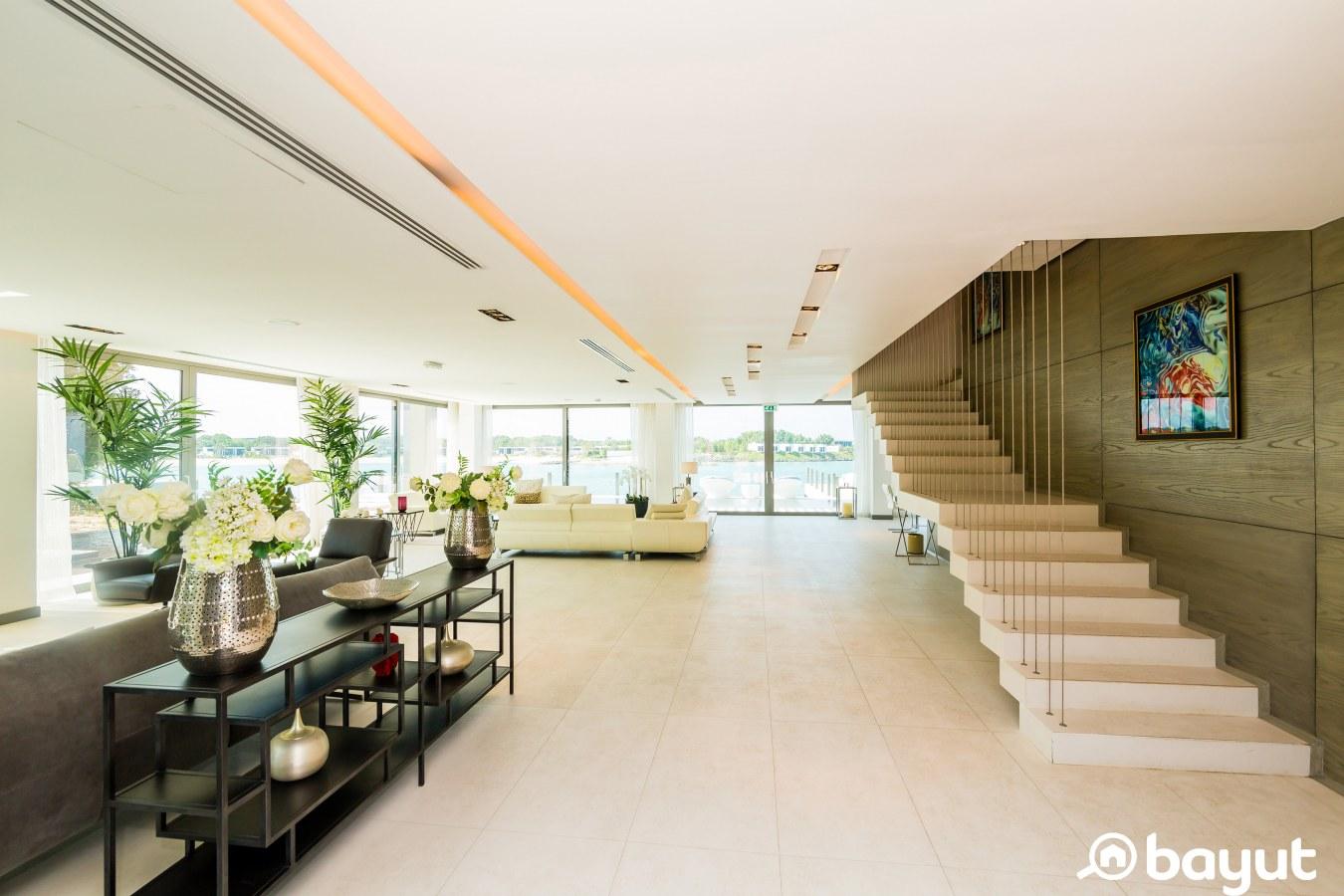 staircase and ground floor of a spacious villa in Nurai Island Abu Dhabi