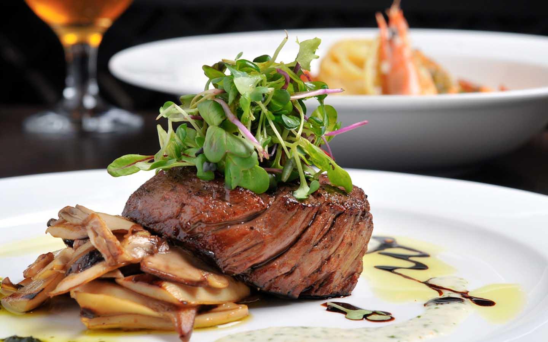 Beef tenderloin steak served at a restaurant