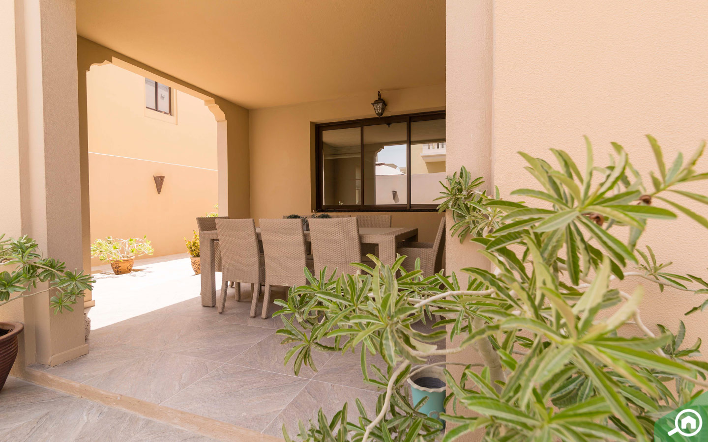 Outdoors of villa with private garden for sale