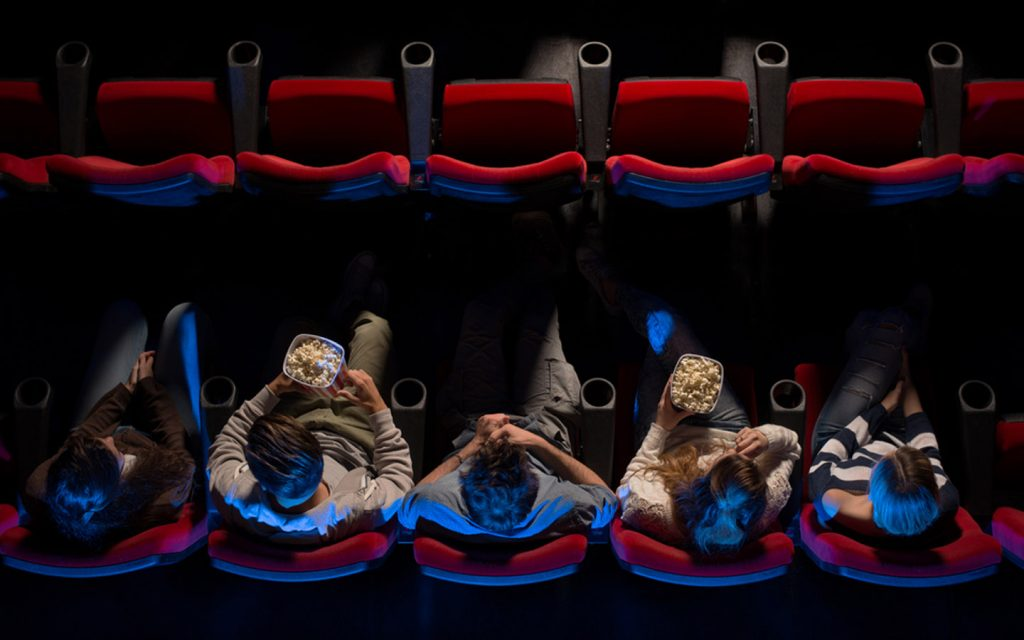 overhead view of people in cinema