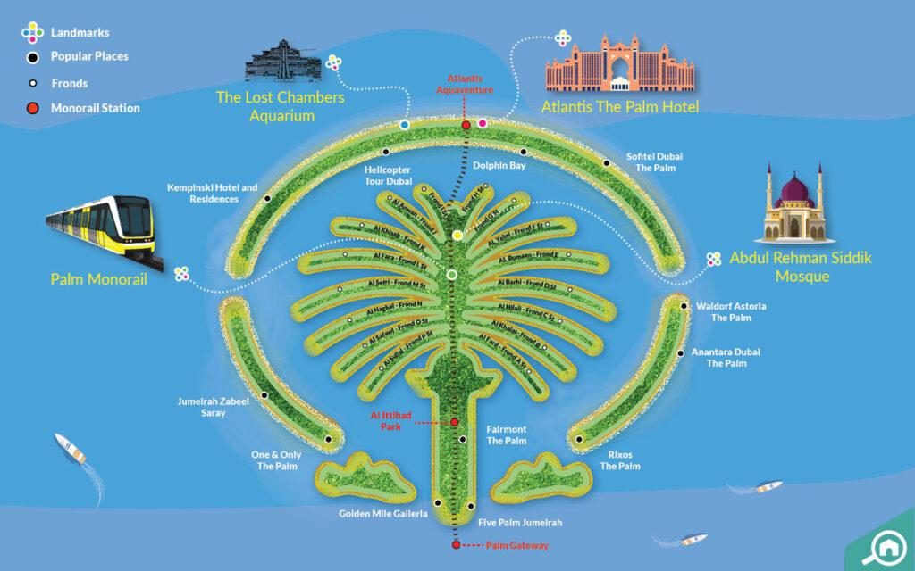خريطة تفصيلية لنخلة جميرا وأبرز معالمها