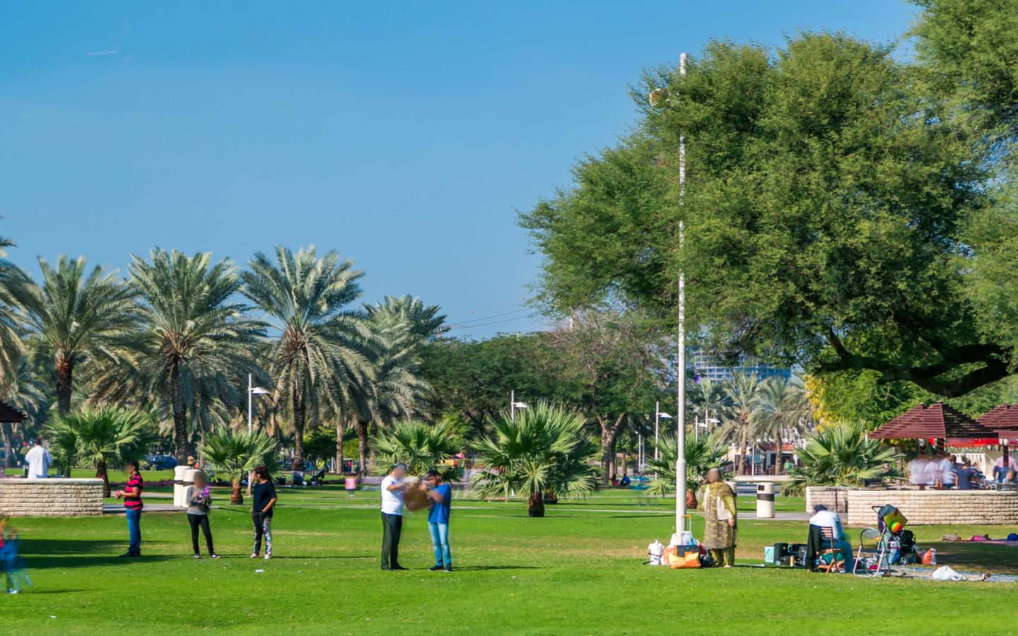 People on lawn in Dubai Creek Park